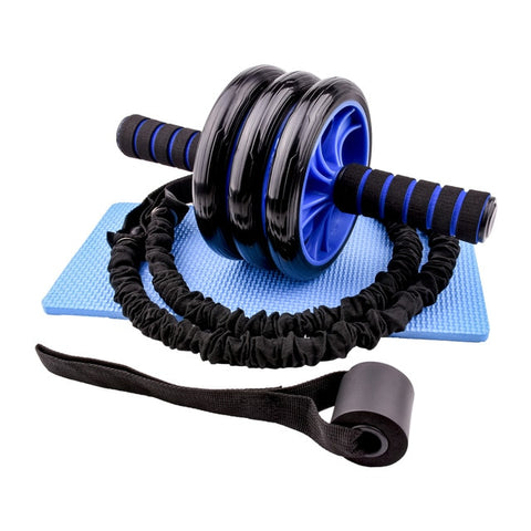 AB Wheel Roller with Resistance Yoga Bands Door Anchor Abdominal Exercise Machine Trainer Fitness Home Gym Workout Equipment
