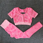 Camouflage Backless Seamless Women Yoga Set