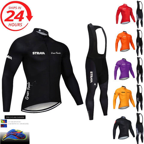 2020 STRAVA long sleeve cycling clothing set bib pants