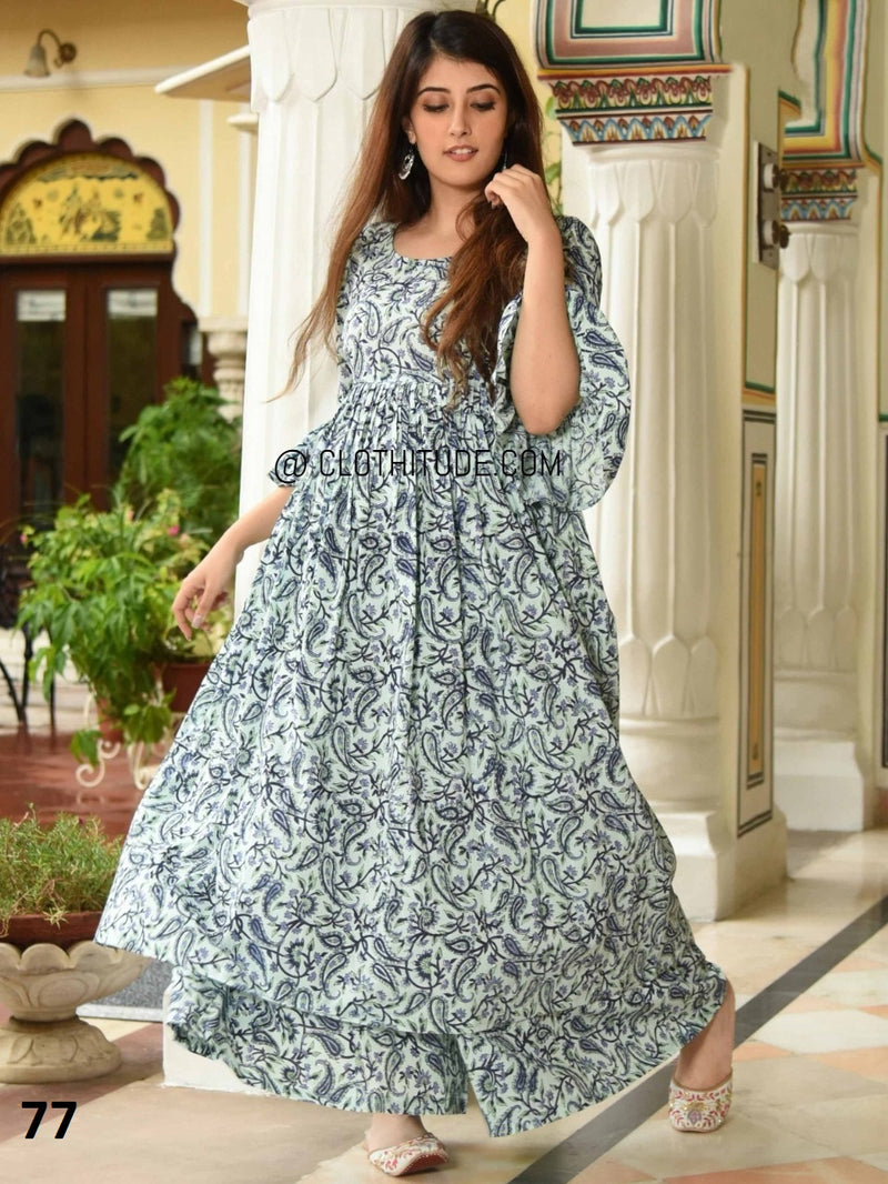 Magnificent stone blue colour painted rayon cotton anarkali kurti with palazzo
