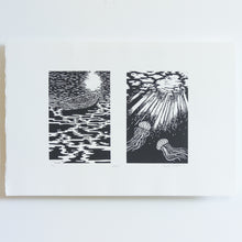 Load image into Gallery viewer, 'Adrift' Handmade Linocut Diptych Print