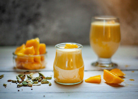 mango and pumpkin drink in a glass