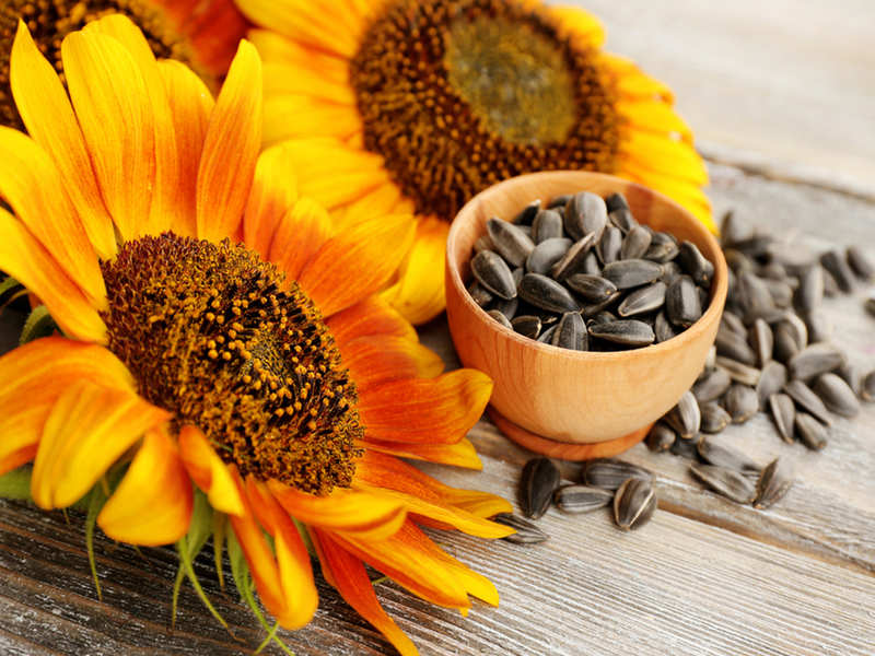 brown seeds in a bowl with sunflower