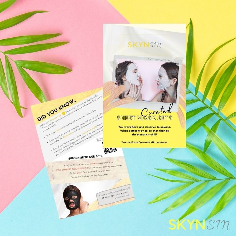 Curated sheet mask care card tips