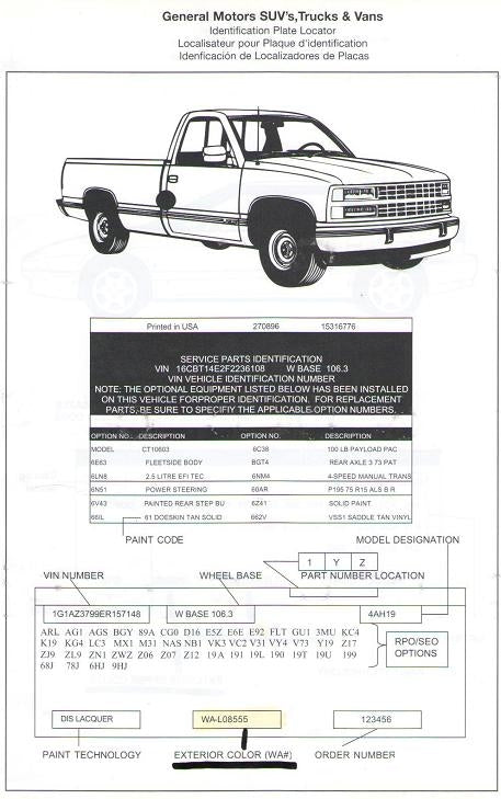 GM Truck Paint Codes