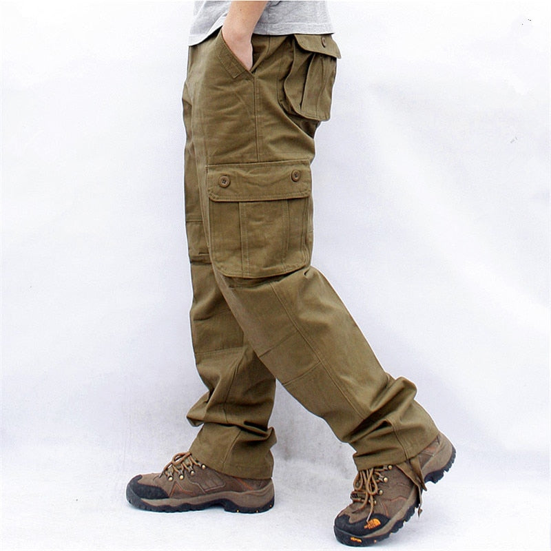 Mens Cargo Overall Tactical Combat Loose Trousers Pocket Pants Cotton Size 29-50