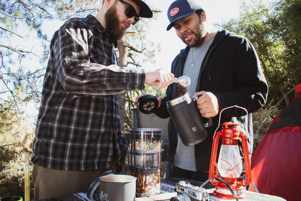 people brewing with brutrek tabletop french press outdoors
