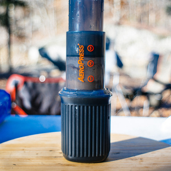 aeropress go with coffee being brewed