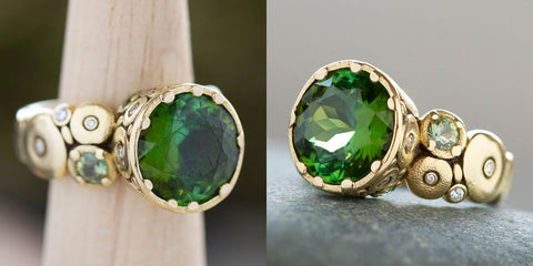 Gem polishing tourmaline, before very scratched, after good as new