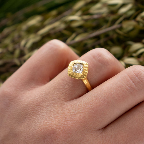 Diamond Ring in Textured 22K Gold