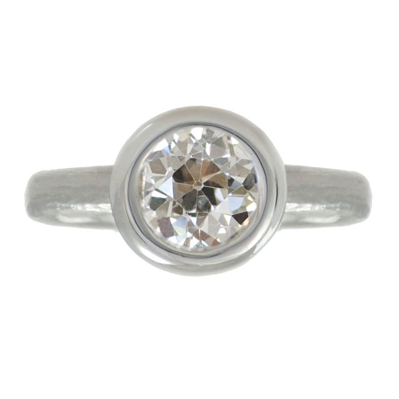 Bezel Set Old-Cut Diamond (1.51ct) Ring in Platinum