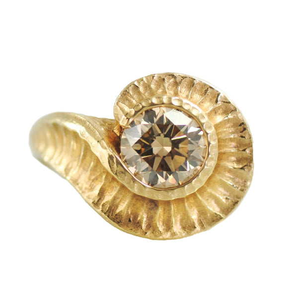Champagne Diamond (1.60ct) Fibonacci-inspired Ring in 18K Gold