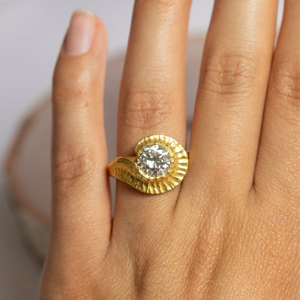 """The Nautilus"" (Diamond 2.10ct Ring with Ocean-Inspired Halo in 22K Yellow Gold)"