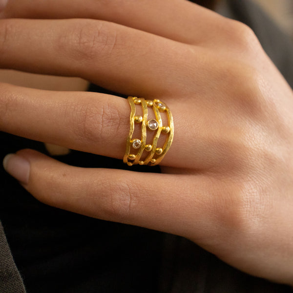 Gold Four Row Ring with Diamonds