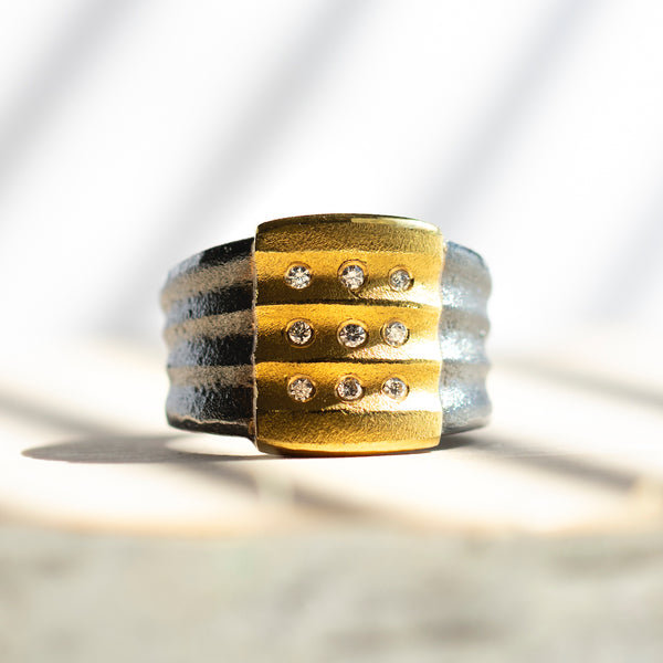 Oxidized Silver and 24K Gold Ring with Diamonds