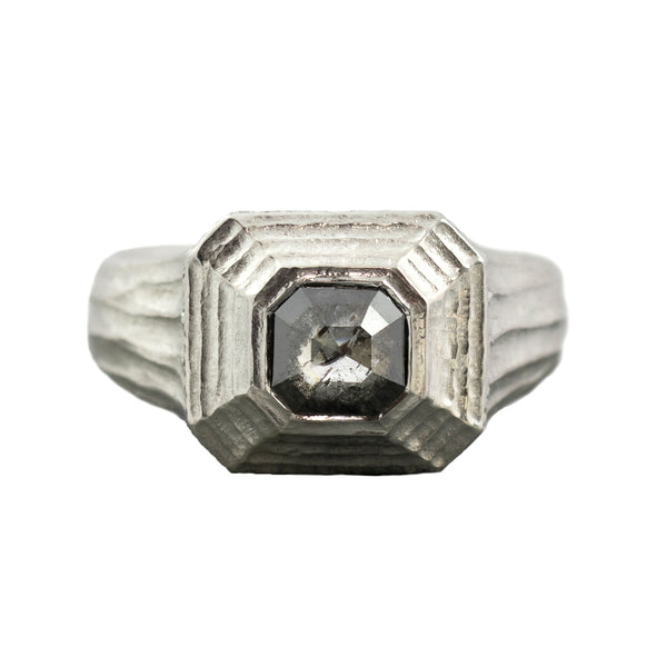 Rustic Black Diamond (0.96ct) Ring in Textured Platinum