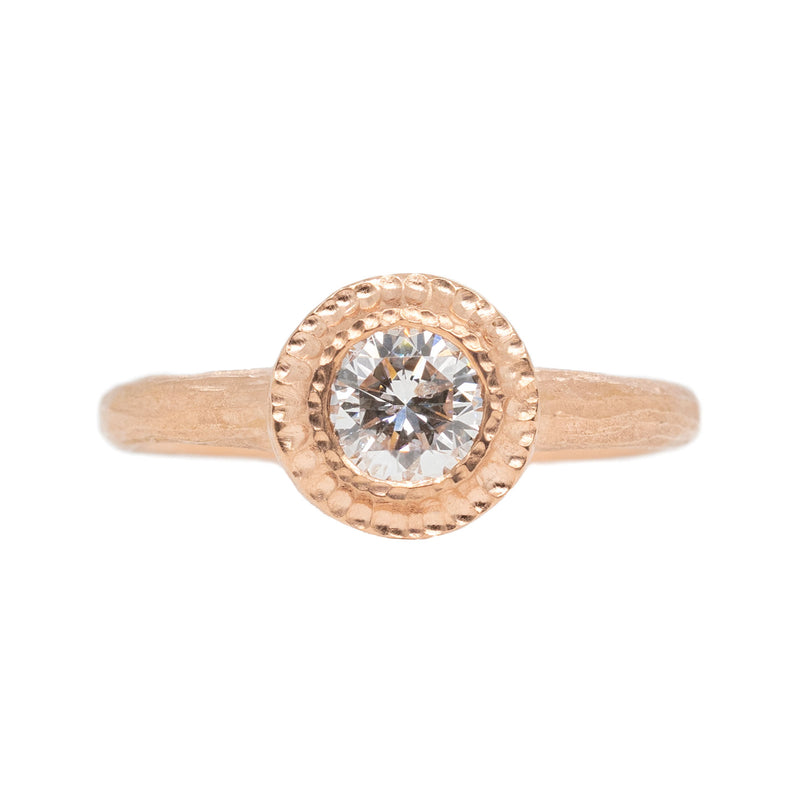 Diamond (0.53ct) Ring with Textured Halo in 18K Rose Gold