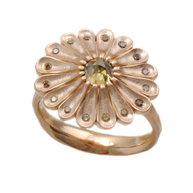 Flower Ring with Autumnal Diamonds in 18K Rose Gold