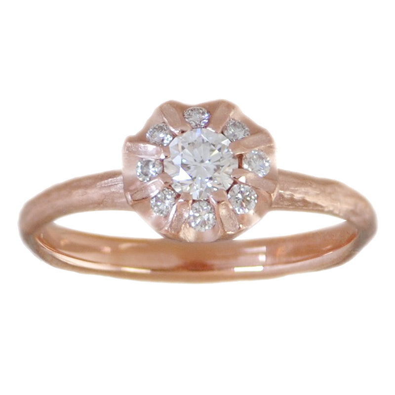 Rose Gold Flower Ring with Diamonds