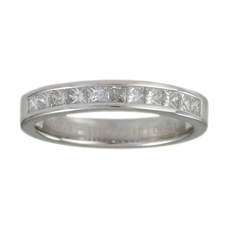 Platinum band featuring 11 channel set princess cut diamonds 0.60ctw G color, SI1 clarity, in a finger size 6.