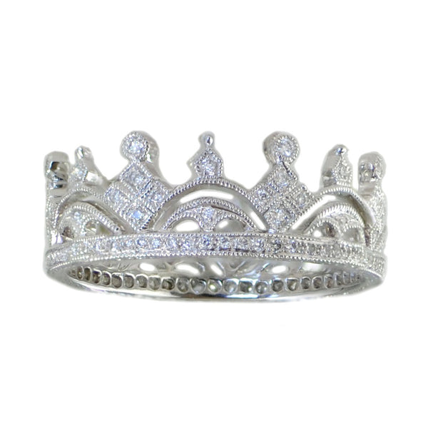 """Crown"" Band in 18K White Gold"
