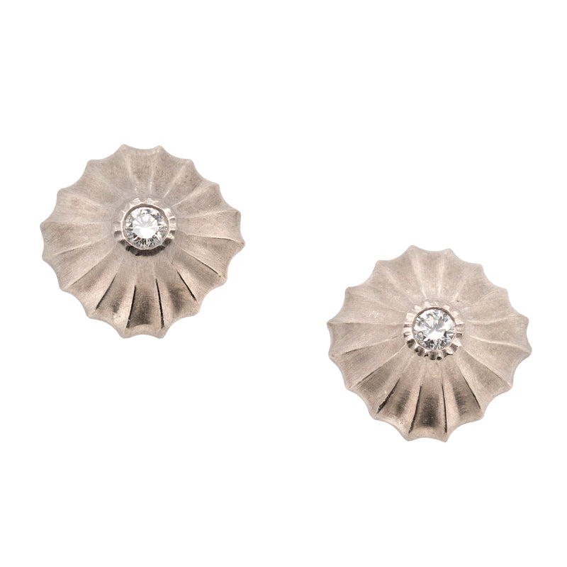 Diamond Studs in Scalloped 18K White Gold