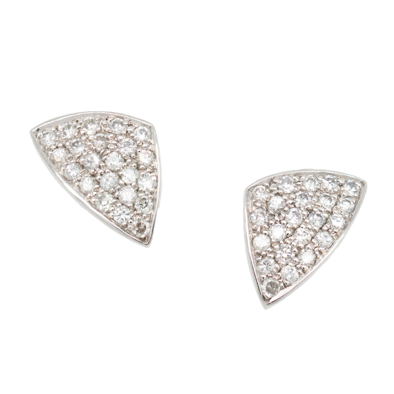 Kite Shaped Pavé Set Diamond Studs in Platinum