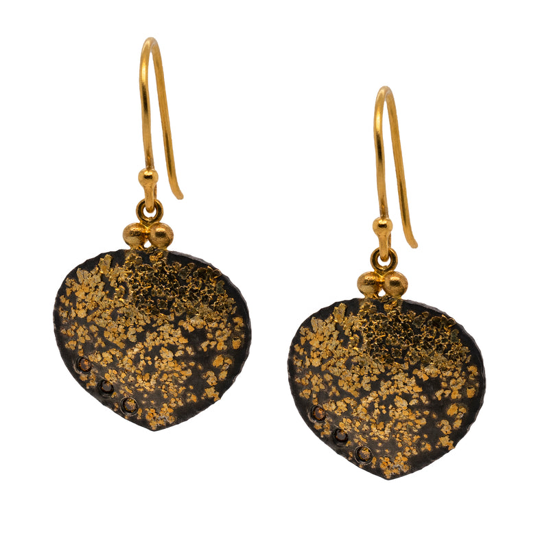 Spade Oxidized Silver and Gold Dust Earrings with Diamonds