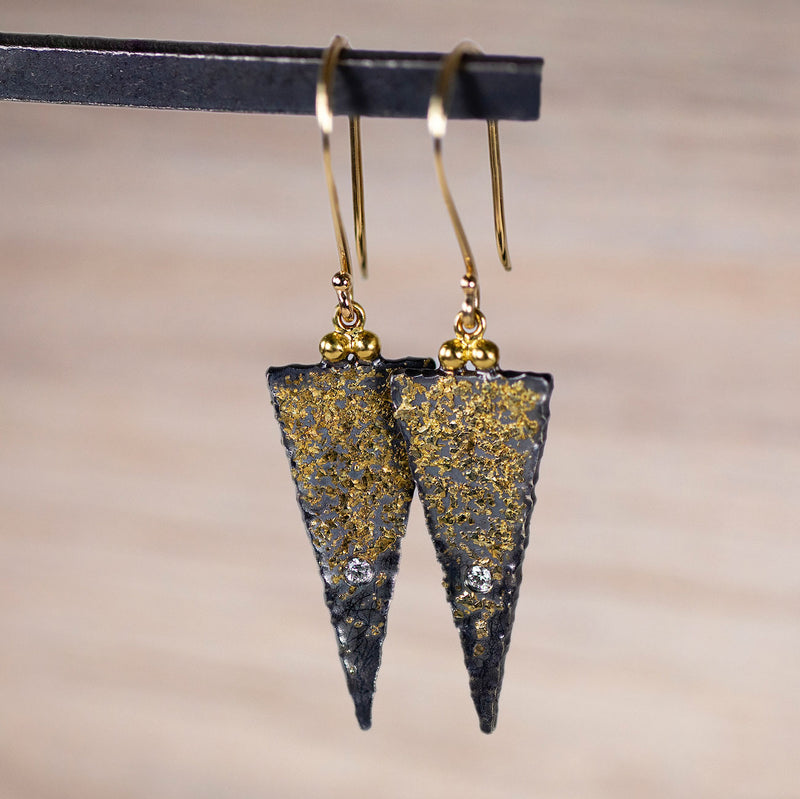 Triangle Oxidized Silver and Gold Dust Earrings with Diamonds