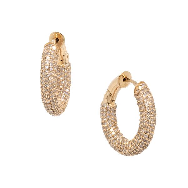 22 karat yellow gold rounded hoop earrings featuring round diamonds throughout, 15 x 3.5mm.