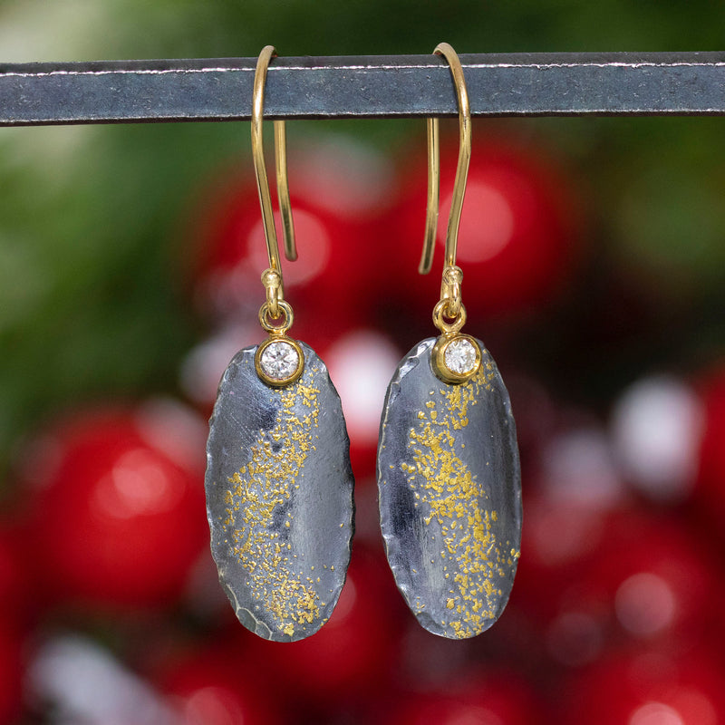Oxidized Silver and Gold Dust Earrings with Diamonds