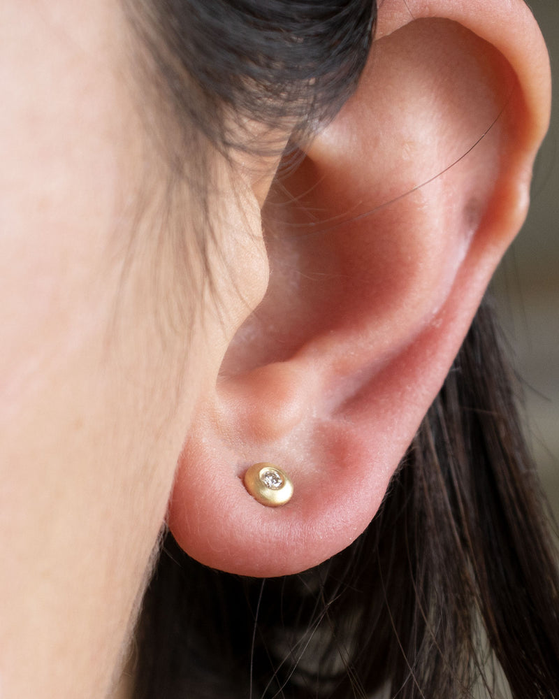 Bezel Set Diamond Studs in 14K Yellow Gold