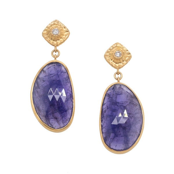Tanzanite (38.04ctw) Drop Studs with Diamonds in 18K Gold