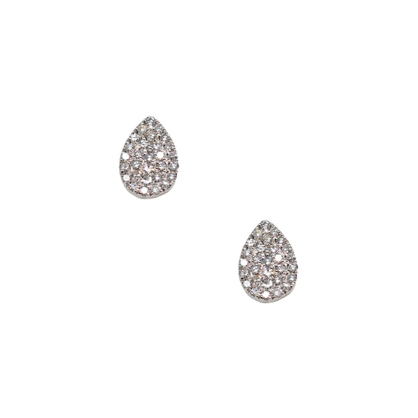 Pavé-Set Diamond Pear Studs in White Gold
