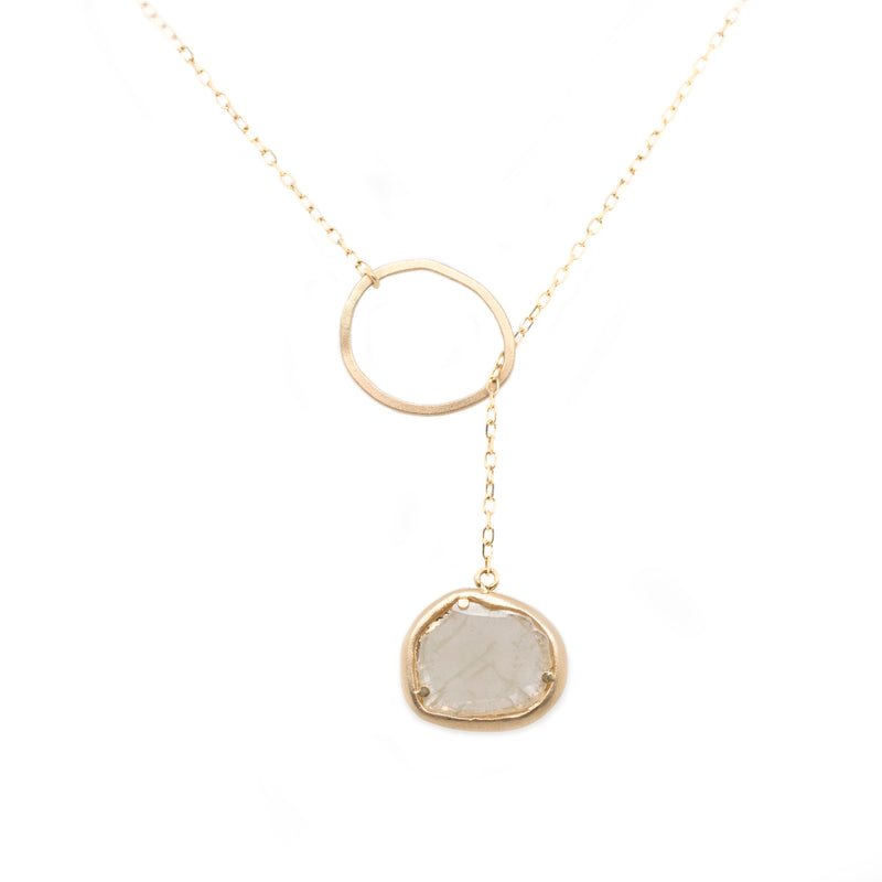 Diamond Slice Lariat Gold Necklace