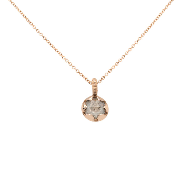 """Budding Flower"" Diamond and Rose Gold Pendant Necklace"