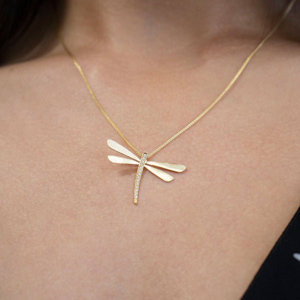 Dragon Fly Necklace with Diamonds