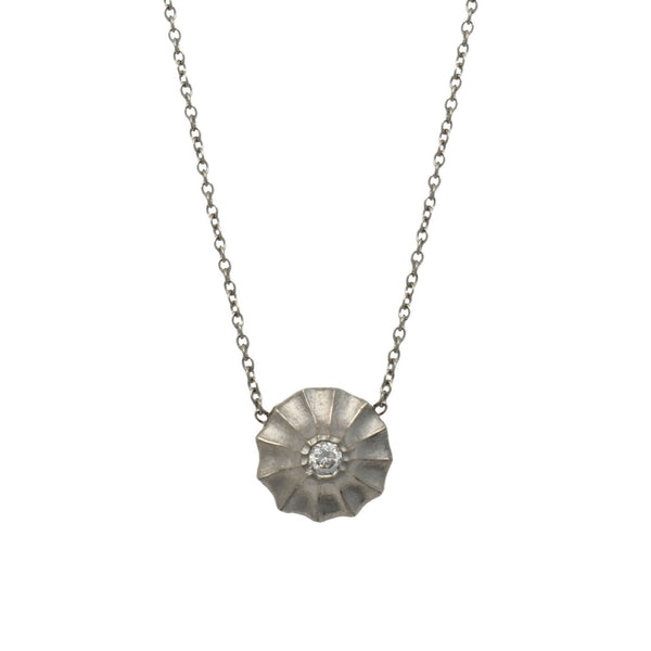 Diamond Necklace with Scalloped Halo in Platium