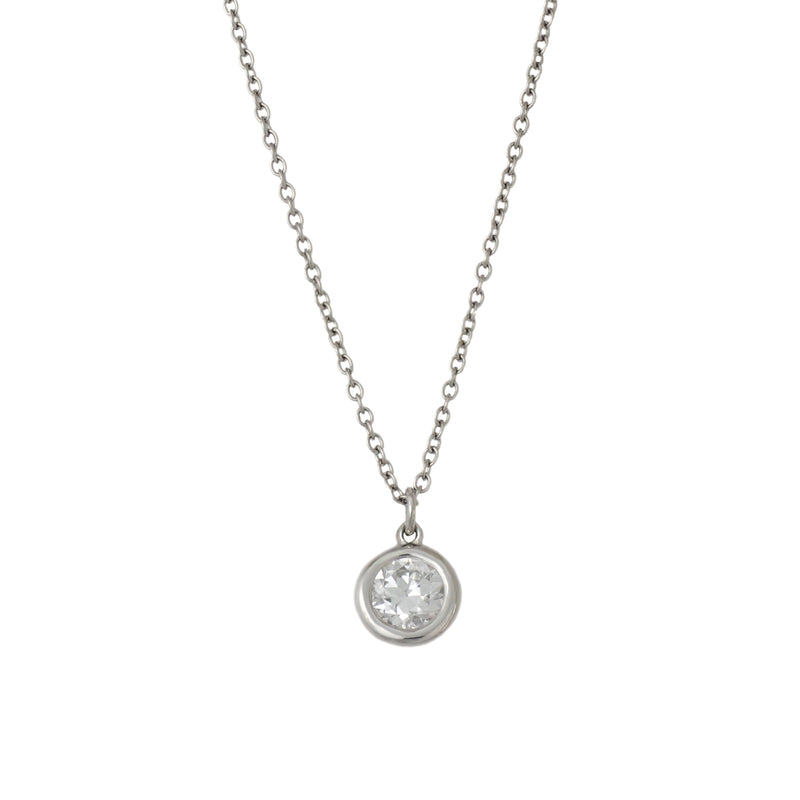 Donut Bezel Set Diamond (0.50ct) Necklace in Platinum