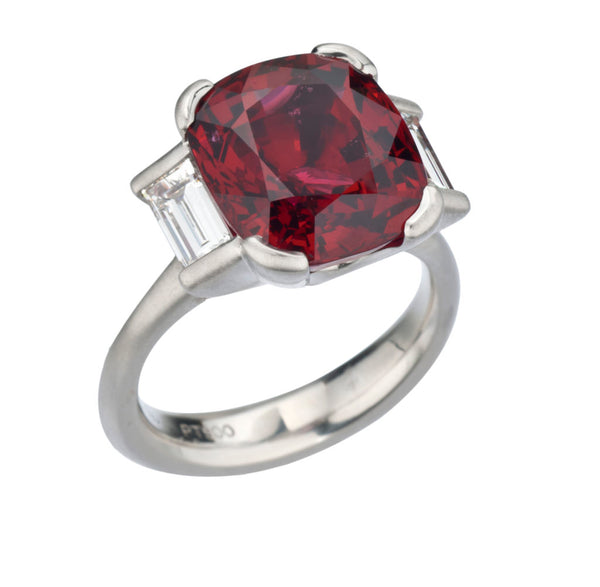 Spinel (10.10ct) Ring with Diamonds in Platinum
