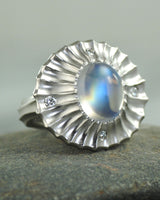 Moonstone (9.35ct) Statement Ring with Diamond Accents in Platinum