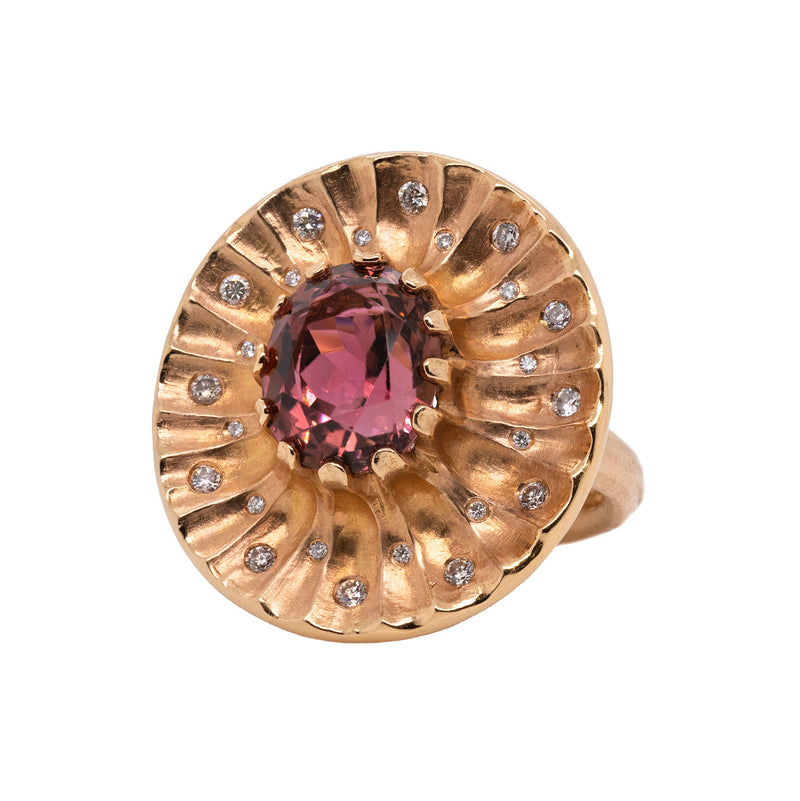 Pink Tourmaline (5.85ct) Ring Featuring Diamonds in Rose Gold