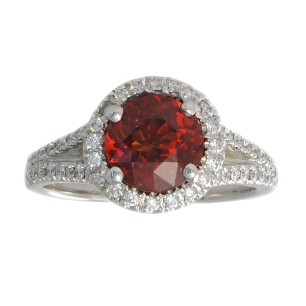 Spessartite Garnet (2.35ct) Ring with Diamond Melee in 18K White Gold