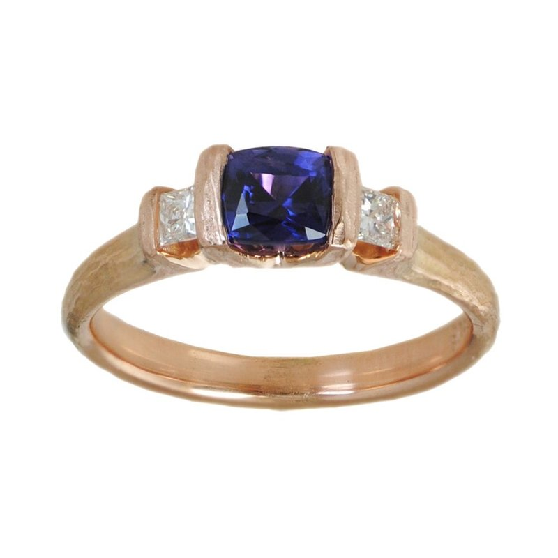 Purple Sapphire Ring with Diamond Accents in 18K Rose Gold