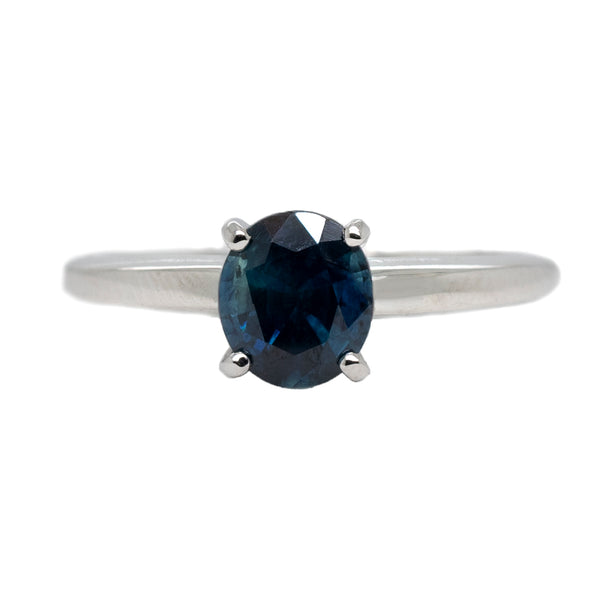 Blue Sapphire Ring in White Gold