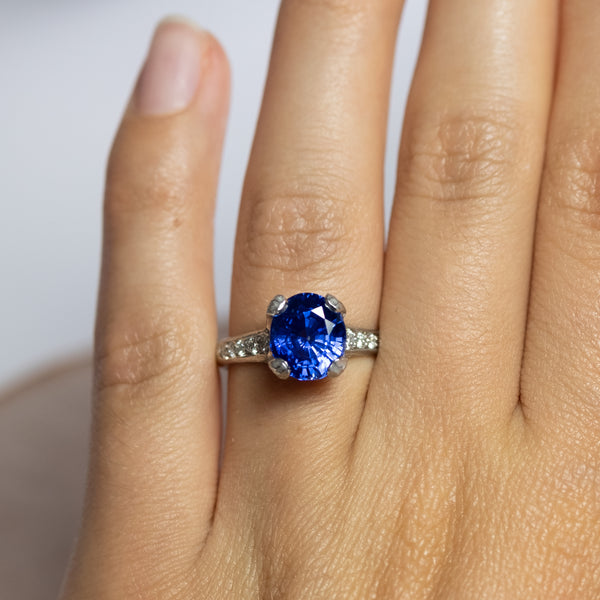 """Big Blue"" (Blue Sapphire 4.76ct Ring with Diamond Accents in Platinum)"