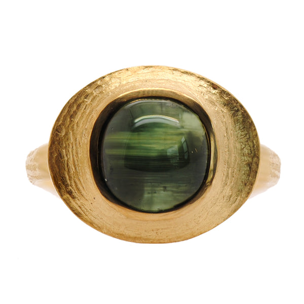 Cat's Eye Green Tourmaline (5.62ct) Ring in 22K Gold
