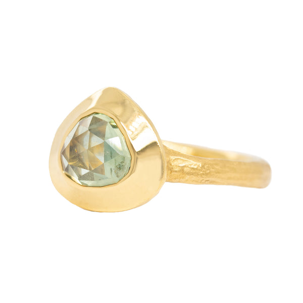 Light Green Sapphire (2.49ct) Ring in 22K Gold