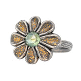 Flower Ring with Green Sapphire in Oxidized Silver and Gold Dust