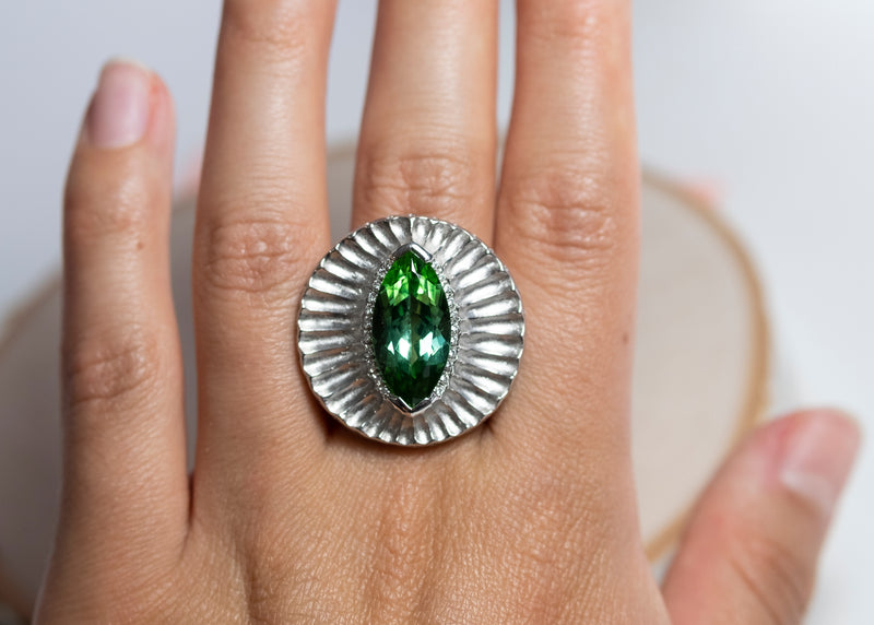 Green Tourmaline (9.02ct) with Diamond Accents and Platinum Redwood Bark Texture